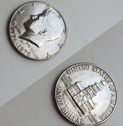 Liberty ( half dollar) ( quarter dollar) ( one dime)
