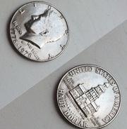 Liberty ( half dollar) ( quarter dollar) ( one dime)